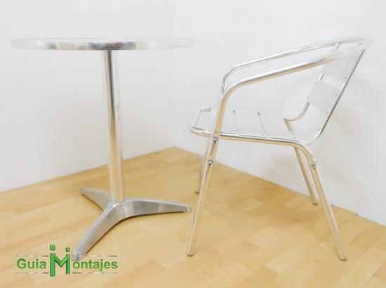 Juego de mesa y silla aluminio 01