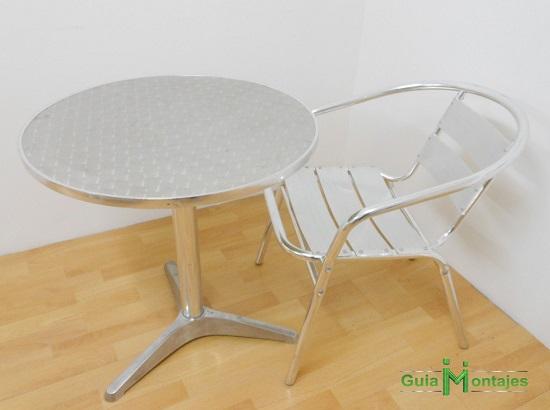 Juego de mesa y silla aluminio 02