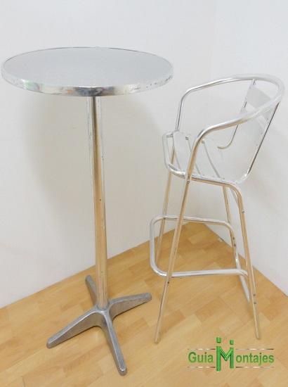 mesa y silla alta de aluminio